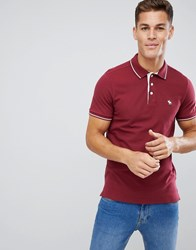 a315b3dad Abercrombie And Fitch Stretch Core Moose Logo Tipped Slim Fit Polo In  Burgundy Red
