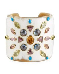 Ashley Pittman Mvutano Light Horn Cuff W Mixed Gems White