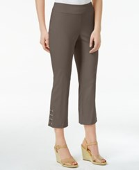 Jm Collection Lace Up Hem Capri Pants Only At Macy's Brown Clay