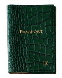 Crocodile Embossed Leather Passport Cover Personalized Brown Graphic Image