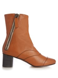 Chloe Lexie Leather Ankle Boots Tan