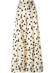 Erika Cavallini Semi Couture Dotted Wide Leg Trousers Nude And Neutrals