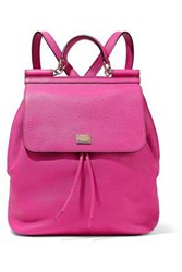 Dolce And Gabbana Sicily Pebbled Leather Backpack Bright Pink