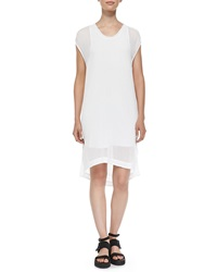 Helmut Lang Petite Swift Semi Sheer Dress W Draped Back Optic White