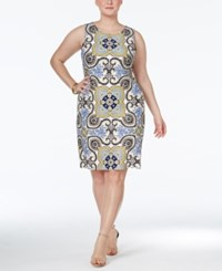 Charter Club Plus Size Printed Sheath Dress Only At Macy's Sun Yellow Combo