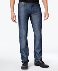 Inc International Concepts I.N.C. Men's Slim Straight Fit Navy Chambray Jeans Created For Macy's