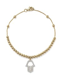 Kc Designs Diamond Hamsa Beaded Bracelet In 14K Yellow Gold .14 Ct. T.W.