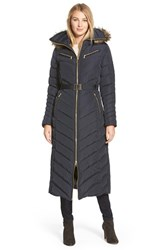 Women's Michael Michael Kors Belted Long Quilted Down And Feather Fill Coat With Faux Fur Trim Hood