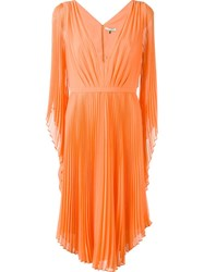 Halston Heritage Pleated V Neck Dress Yellow And Orange