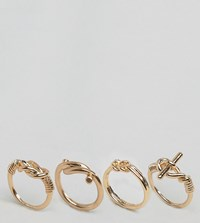 Aldo Knotted Band Stacking Rings Gold