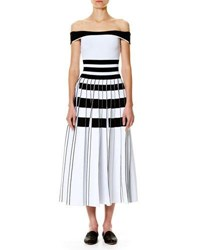 Carolina Herrera Striped Off The Shoulder Midi Dress White Black White Black