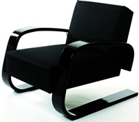 Artek Armchair 400 With Black Armrests