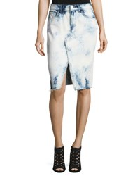 J Brand Trystan Bleached Denim Midi Skirt With Raw Hem Elation Blue