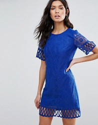 Pussycat London Lace Overlay Shift Dress Blue