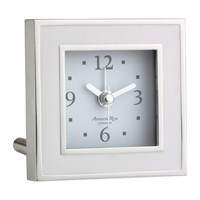 Addison Ross Square Alarm Clock White Enamel