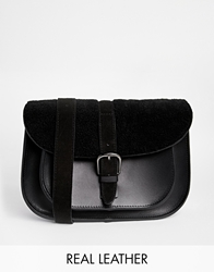 Maison Scotch Leather Satchel With Teddy Bear Fur Trim Black