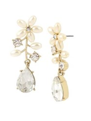 Miriam Haskell Vintage Pearl Flower Crystal And Faux Pearl Drop Front Back Earrings White
