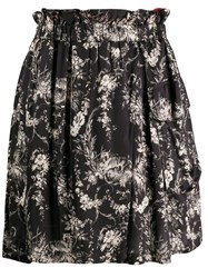 8Pm Floral Print Pull On Skirt Black