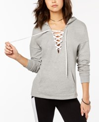 Material Girl Active Juniors' Lace Up Pullover Hoodie Created For Macy's Heather Platinum
