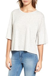 Lush Women's Ruffle Sleeve Tee H Grey