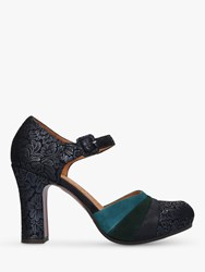 Chie Mihara Deluxe Two Part Block Heel Court Shoes Navy Multi
