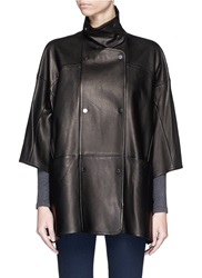 Vince Double Breasted Leather Cape Coat Black