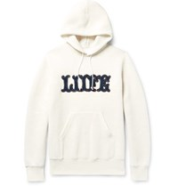 Sacai Appliqued Marl Cotton Blend Jersey Hoodie Off White