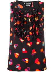 Boutique Moschino Heart Print Top Black