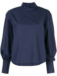 Ck Calvin Klein Long Sleeve Poplin Top Blue
