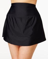 Island Escape Plus Size Tummy Control Swim Skirt Created For Macy's Women's Swimsuit Black