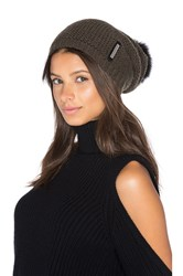 Soia And Kyo Caddie Hat With Fox Fur Pompom Olive