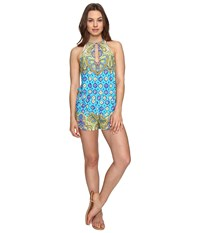 Trina Turk Corsica Romper Cover Up Turquoise Women's Jumpsuit And Rompers One Piece Blue