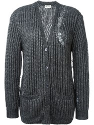 Saint Laurent Oversized Ribbed Cardigan Grey