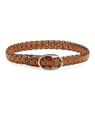 Steve Madden Braided Leather Belt Brown