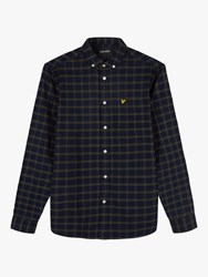 Lyle And Scott Check Flannel Shirt Navy Olive