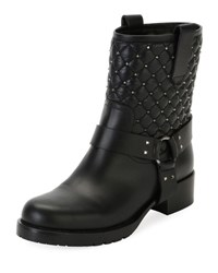Valentino Rockstud Quilted Leather Moto Boot Black