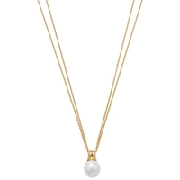London Road 9Ct Yellow Gold Double Chain Pearl Pendant Necklace
