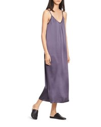 Vince Pleated V Neck Slip Dress Plum