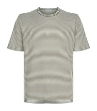 Gieves And Hawkes Striped Cotton Linen T Shirt Green