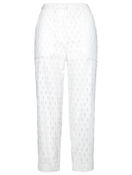 Whistles Broderie Cropped Trousers White