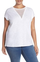 Plus Size Women's Two By Vince Camuto V Neck Inset Dolman Sleeve Tee Ultra White