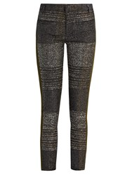 Haider Ackermann Bussey Skinny Leg Tweed And Leather Trousers Black Multi