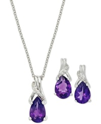 Macy's Amethyst 1 1 4 Ct. T.W. And Diamond Ear And Pendant Set In Sterling Silver