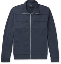 A.P.C. Vincent Cotton Zip Up Sweatshirt Navy