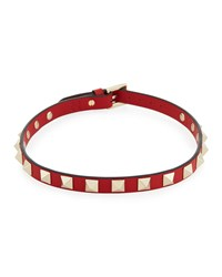 Valentino Small Rockstud Leather Choker Necklace Red