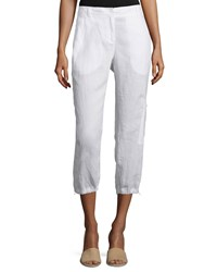 Eileen Fisher Organic Linen Cargo Ankle Pants White Women's