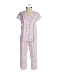 Miss Elaine Floral Print Two Piece Pajama Set Pink
