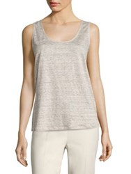 Lafayette 148 New York Chain Trim Linen Tank Top Soba Melange