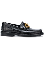 Versace Croco Embossed Loafers Black