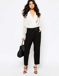 Mango Wrap Front Pants Black